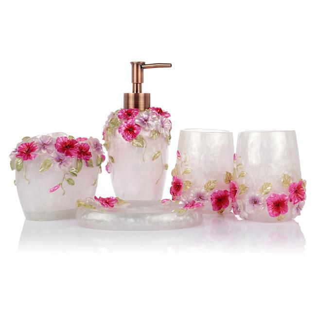 Lagute 5 pc bathroom accessory set soap dish dispenser for Pink bathroom sets bath accessories
