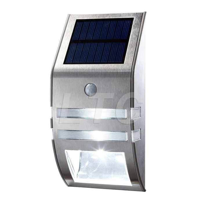 motion sensor edelstahl solar led leuchte solarlampe wandleuchte gartenleuchten ebay. Black Bedroom Furniture Sets. Home Design Ideas