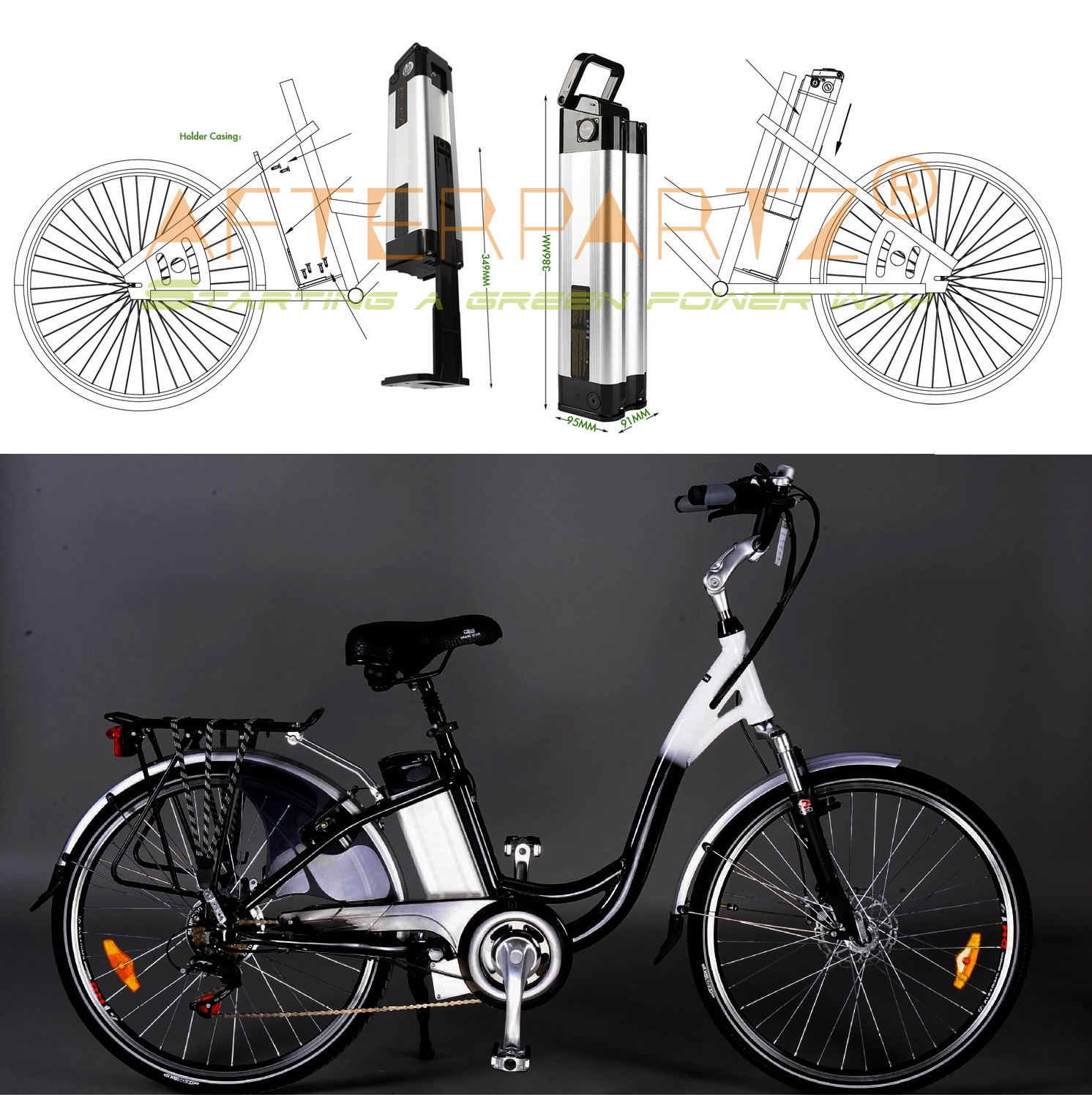 elektrofahrrad abtrennbar akku 36v 10ah e bike batterie. Black Bedroom Furniture Sets. Home Design Ideas