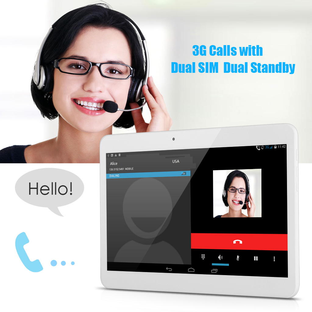 """10.1"""" 3G + WiFi GSM + WCDMA Android Tablet PC Dual SIM ..."""
