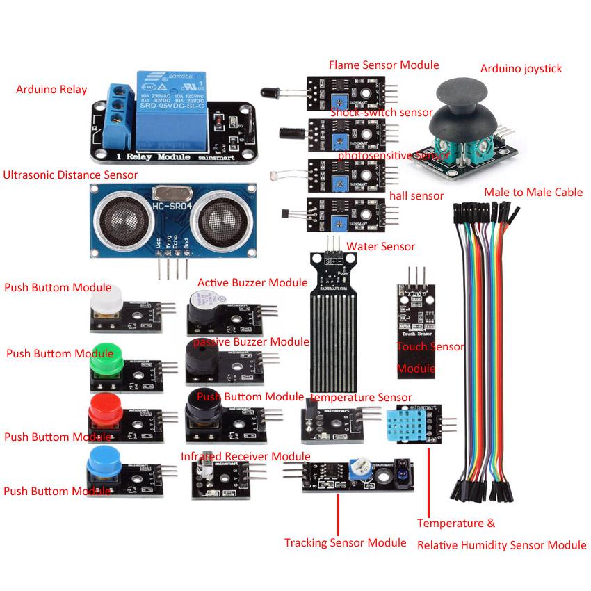 Sainsmart sensor modules starter kit for arduino uno mega