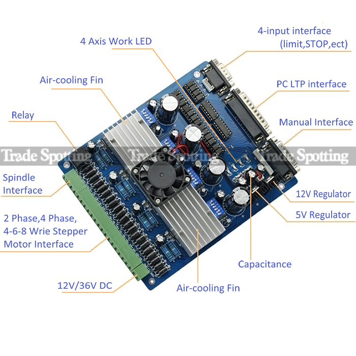Cnc tb6560 4 axis 3 5a driver board controller for for Tb6560 stepper motor driver manual