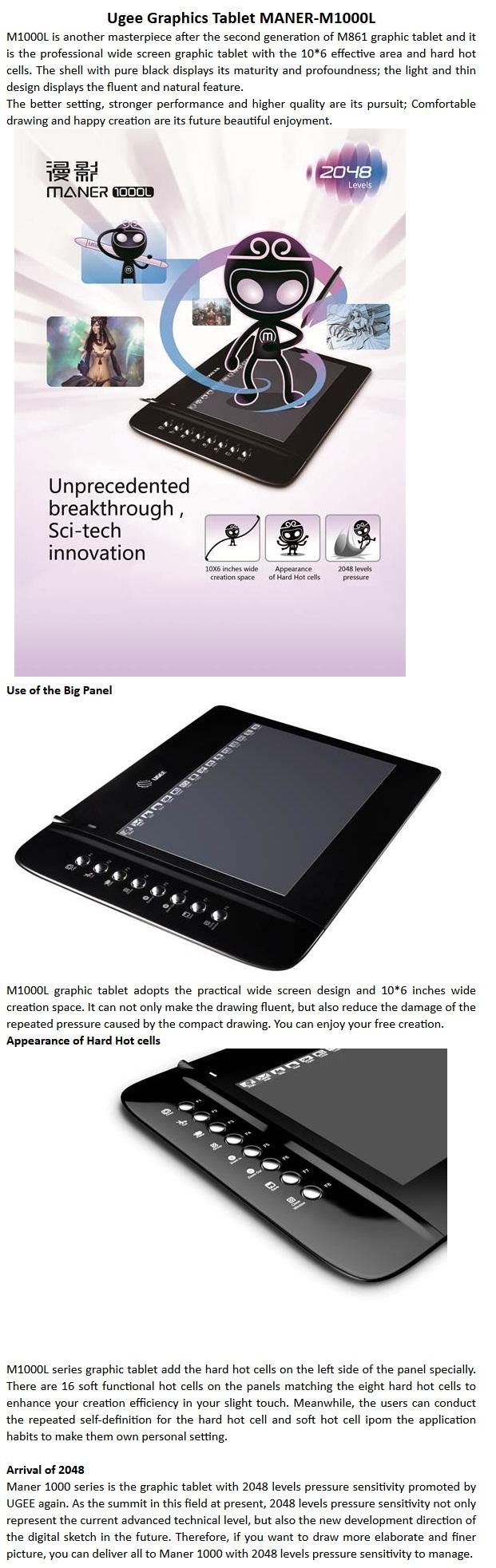 ugee m1000l 10 x6 2 tablette graphique art conception ultra mince cran large ebay. Black Bedroom Furniture Sets. Home Design Ideas
