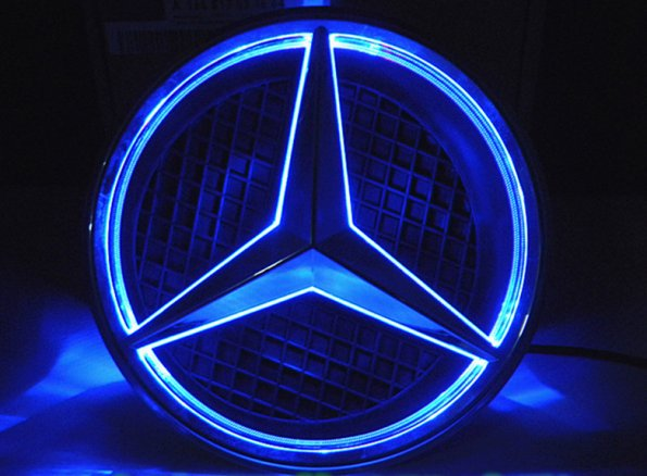 White led halo kit car mercedes benz center emblem badge for Mercedes benz symbol light