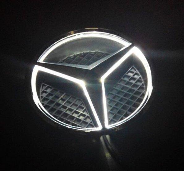 Sale white led light illuminated star emblem front grille for Mercedes benz emblem light