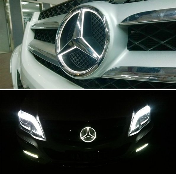 White led halo kit car mercedes benz center emblem badge for Mercedes benz front emblem