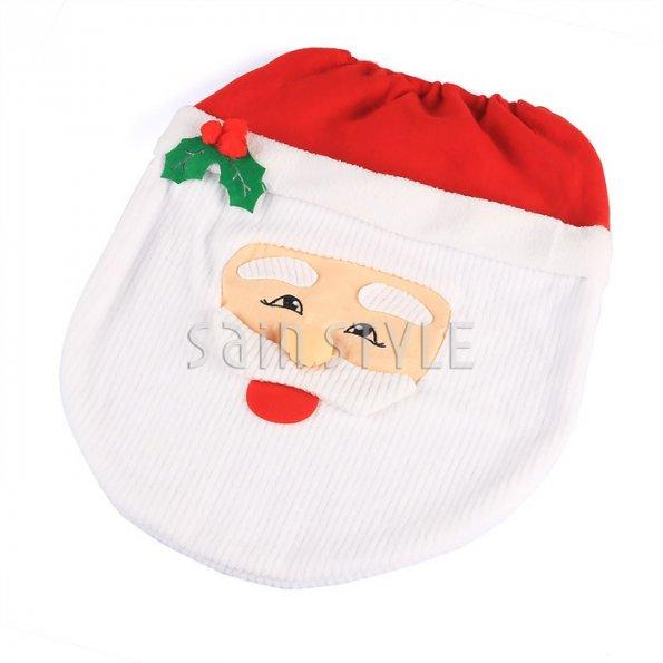 Fancy Santa Toilet Seat Cover Rug Bathroom Set Christmas Xmas Home Deco