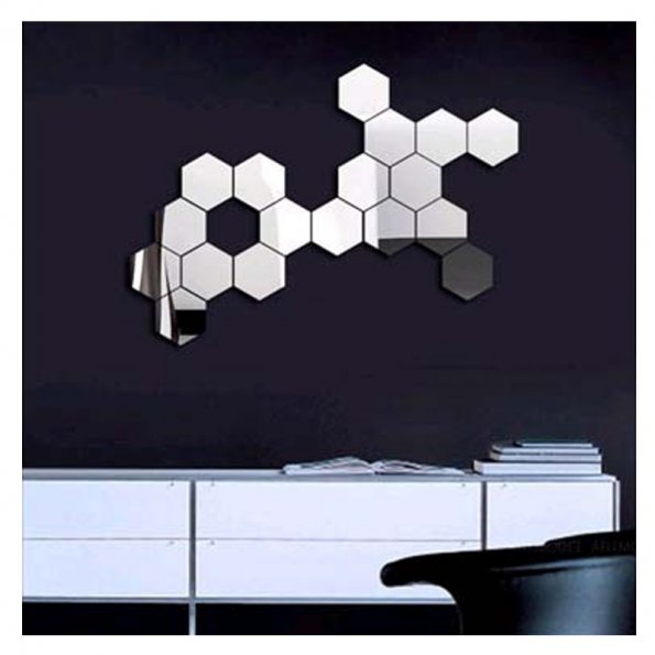 12PCS Fashion Hexagon Acrylic 3D Mirror Effect Wall ...