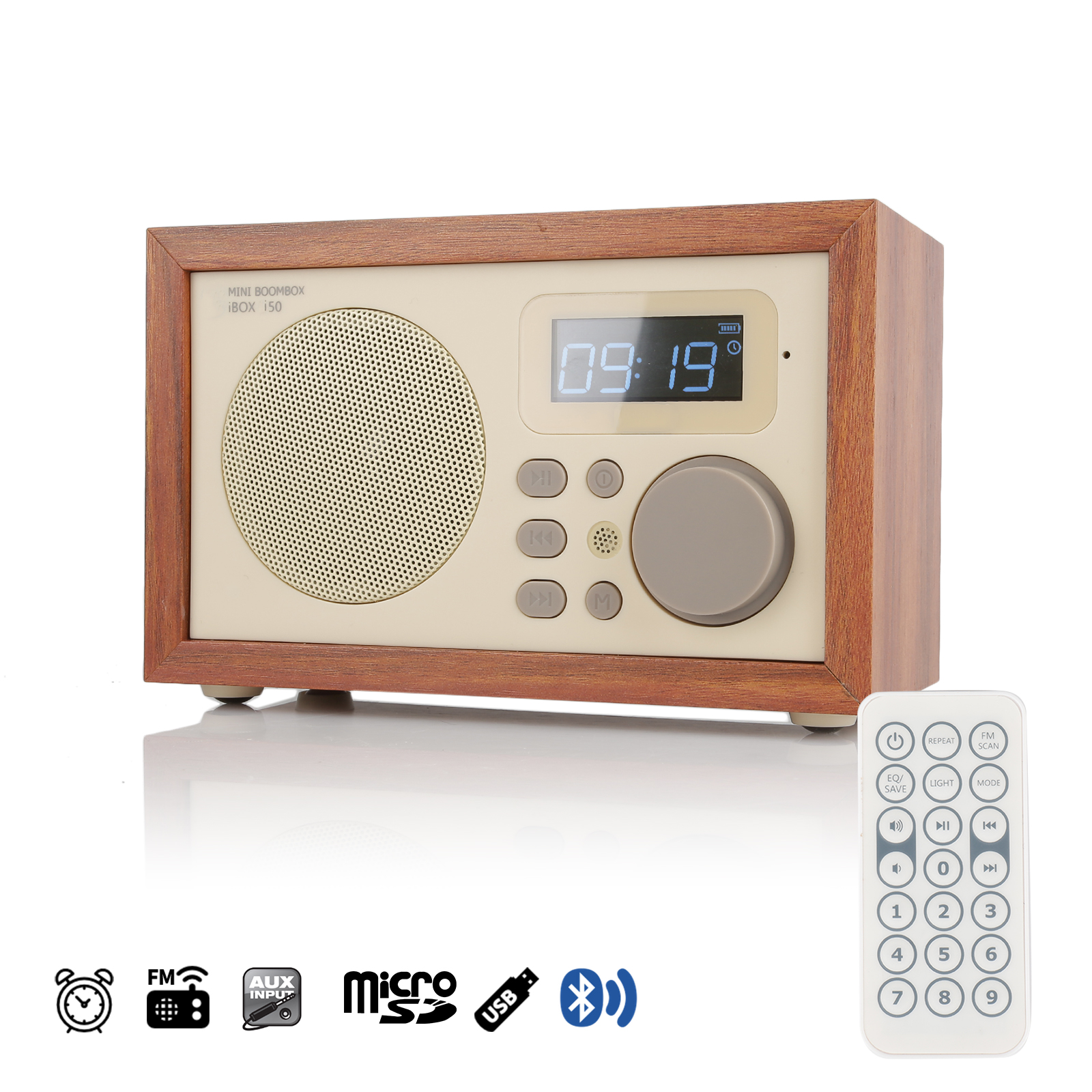 Instabox I50 Retro Wooden Bluetooth Remote Control Alarm Clock Usb Small Fm Radio Mp3