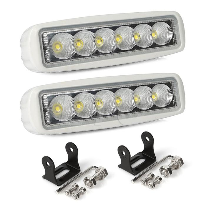Deck Boat Navigation Lights: White Spreader LED Deck/Marine Lights (Set Of 2) For Boat